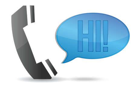 Telephone handset and speech bubble illustration design over white Vector