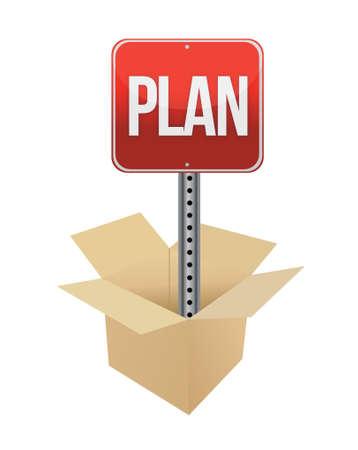 bunner: Plan road sign and box illustration design over a white background Illustration