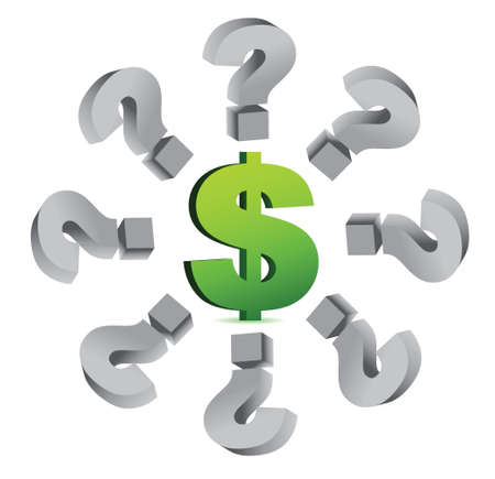 financial questions: query marks around a currency symbol illustration design over white Illustration