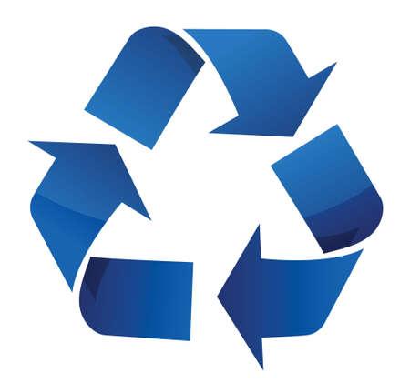 reciclable: Reciclar señal azul diseño ilustración sobre un fondo blanco Vectores