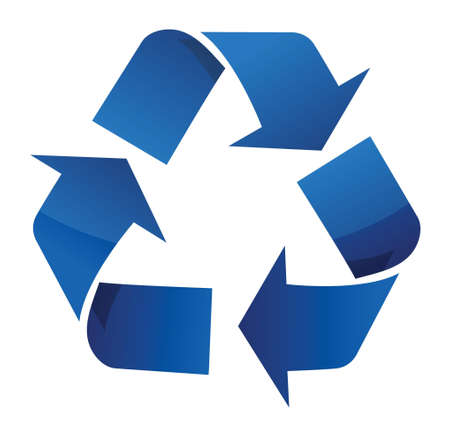disposal: Recycle blue sign illustration design over a white background Illustration
