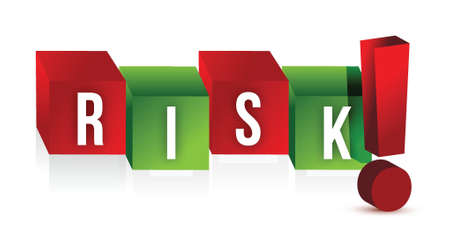 Word risk with an exclamation mark illustration design over white