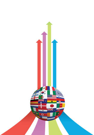 business arrow and flag globe graph illustration design over white Vector