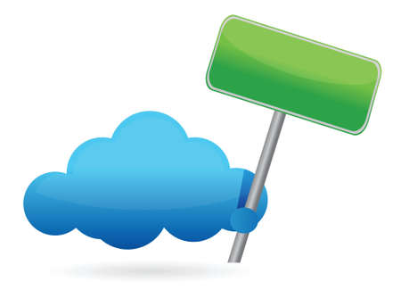 Cloud holding an empty sign illustration design over white Stock Vector - 17013788