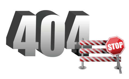 Computer error 404 illustration design over white Vector