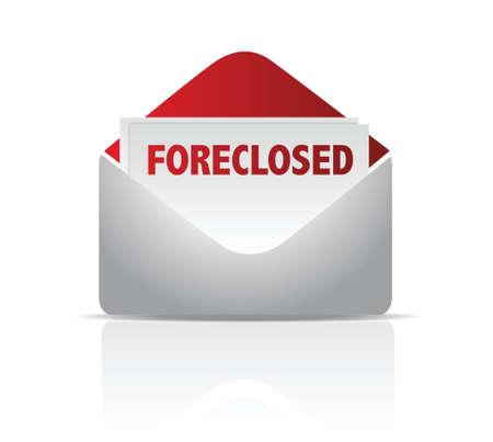 owe: foreclosed mail envelope illustration design over white