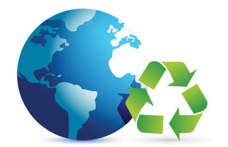 recycling symbol with an earth globe illustration design over white Vector