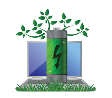 pc: Green energy and notebook illustration design concept