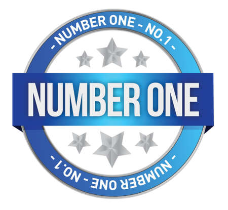 number one written inside the stamp illustration design