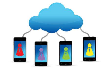 Cloud computing social team illustration design over white Stock Vector - 17013803