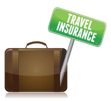 voyage: Concept de l'assurance voyage isolé sur un fond blanc