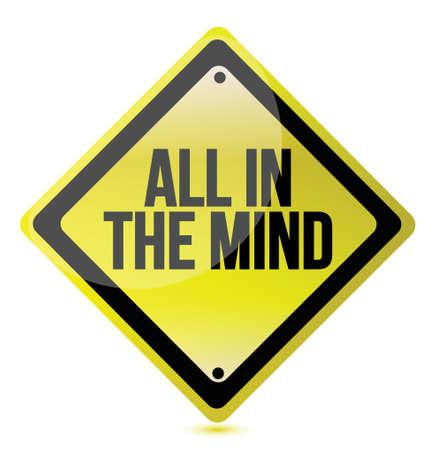 bilinçli: tüm beyaz üzerinde zihin kavramı illüstrasyon tasarımı