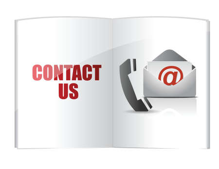 contact book: contact us words on book illustration design over a white background Illustration