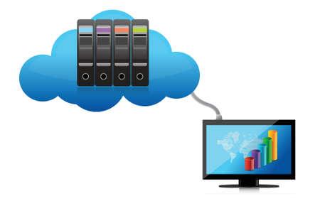 accessing: El cloud computing concepto de dise�o ilustraci�n sobre un fondo blanco Vectores