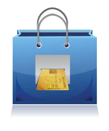 credit card and shopping bag illustration design over white Vector