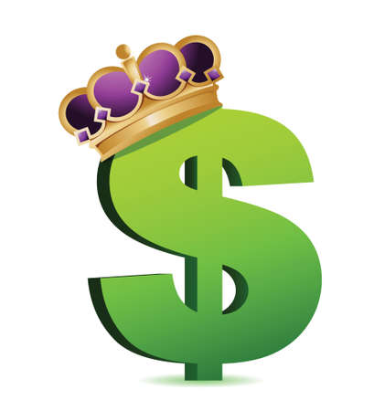 royals: dollar currency gold crown illustration design over a white background