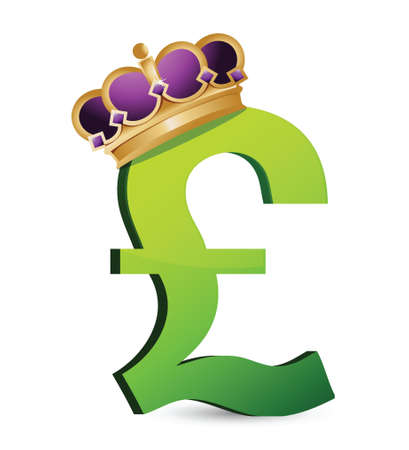 royals: pound currency gold crown illustration design over a white background Illustration