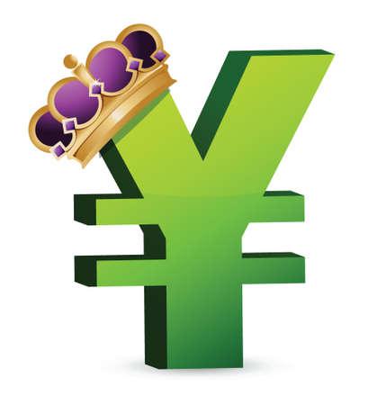 yen currency gold crown illustration design over a white background Иллюстрация