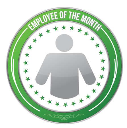 best employee: ribbon for the employee of the month illustration design over white Illustration