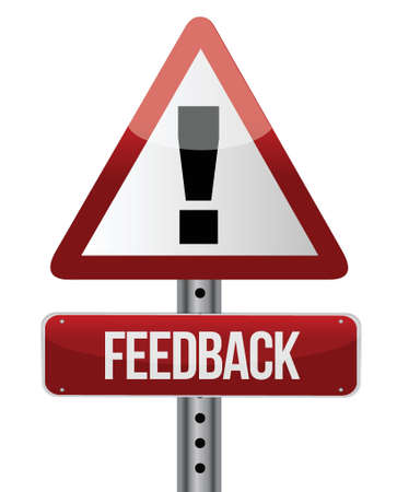 Feedback word on road sign illustration design over white Stock Vector - 17032317