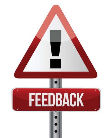 excellent customer service: Feedback word on road sign illustration design over white