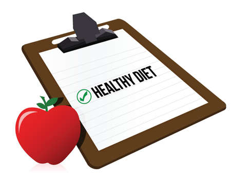 prescribe: clipboard with marked checkbox Diet and apple illustration design