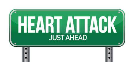 attacco cardiaco: Attacco di cuore Green Road Sign design illustrazione su bianco