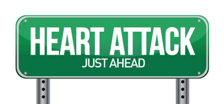 heart disease: Heart Attack Green Road Sign illustration design over white