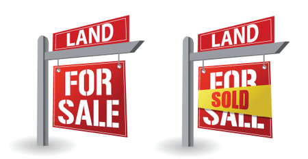 for sale sign: Land for sale sign illustration design over a white background