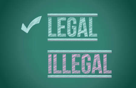 legal vs illegal illustration design over a blackboard Vector