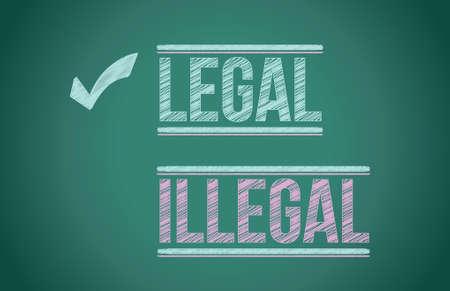 opinion poll: legal vs illegal illustration design over a blackboard Illustration