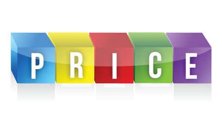 letter blocks: Price word made by letter blocks illustration design over white