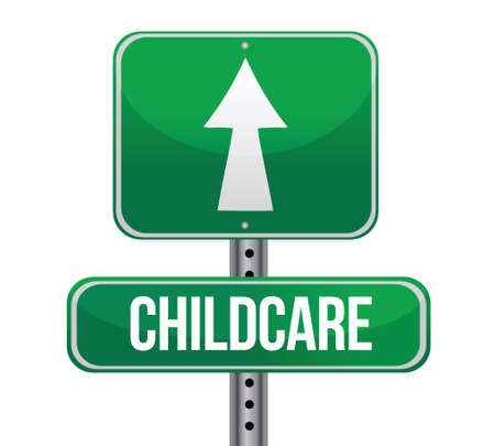 traffic sign with a childcare concept illustration design over white Vector