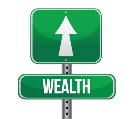 streetsign: road sign with the word Wealth illustration design over white