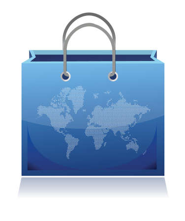 mapped: shopping bag mapped with the world map illustration design Illustration