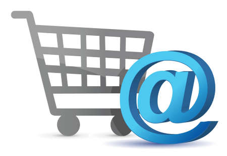 peripherals: E-mail sign an shopping cart illustration design over white