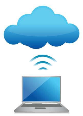 cloud sky: modern laptop send files to cloud server illustration design Illustration