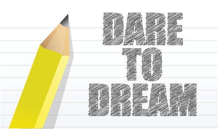 꿈을 감히하는 그림 디자인 메모장 및 연필 그래픽