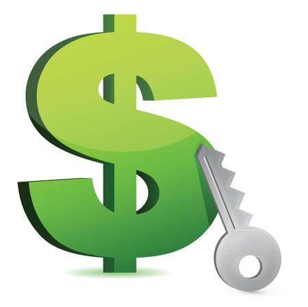 money concept with key illustration design over a white background Ilustração