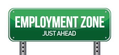 일러스트 레이 션 디자인에 고용 지역 녹색 도로 표지판