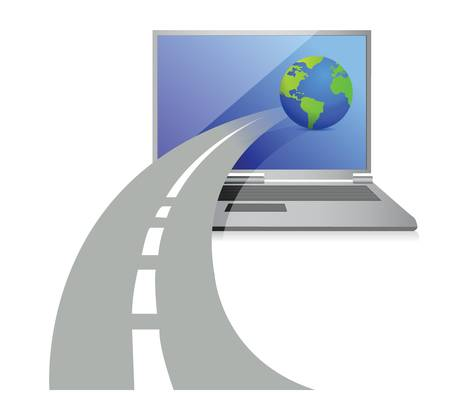 high speed internet: laptop and a road leading to the globe illustration design