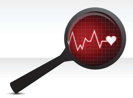 cardiovascular disorders: Heart checkup, magnifying glass illustration design over white
