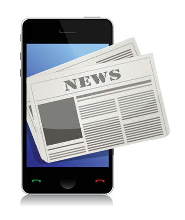 Mobile news concept illustration design over a white background Illustration