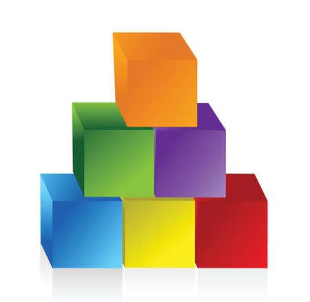 colorful pyramid chart illustration design over white Ilustração
