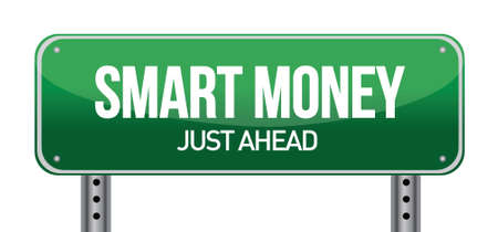 Smart Money Green Road Sign illustration design over white Stock Vector - 17057993