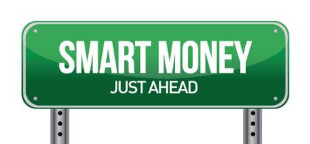 smart: Smart Money Green Road Sign illustration design over white