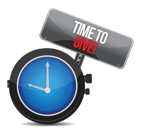 generosity: Tiempo de Dar reloj diseño ilustración sobre un fondo blanco