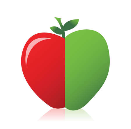 apple combined from red and green illustration design