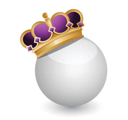 dignity: Golden Crown on White Ball illustration design over white