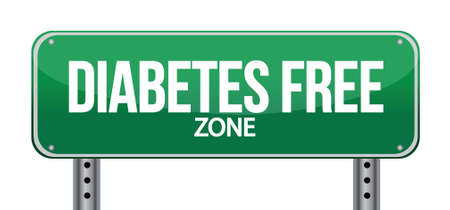 Diabetes Free Zone Green Road Sign illustration design